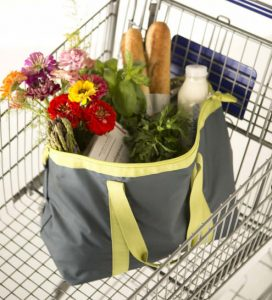 Grey grocery bag with yellow straps