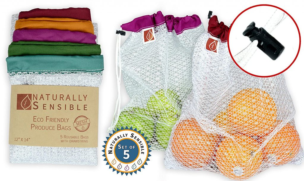 white mesh produce bags with colorful tops - blue green purple orange and brown