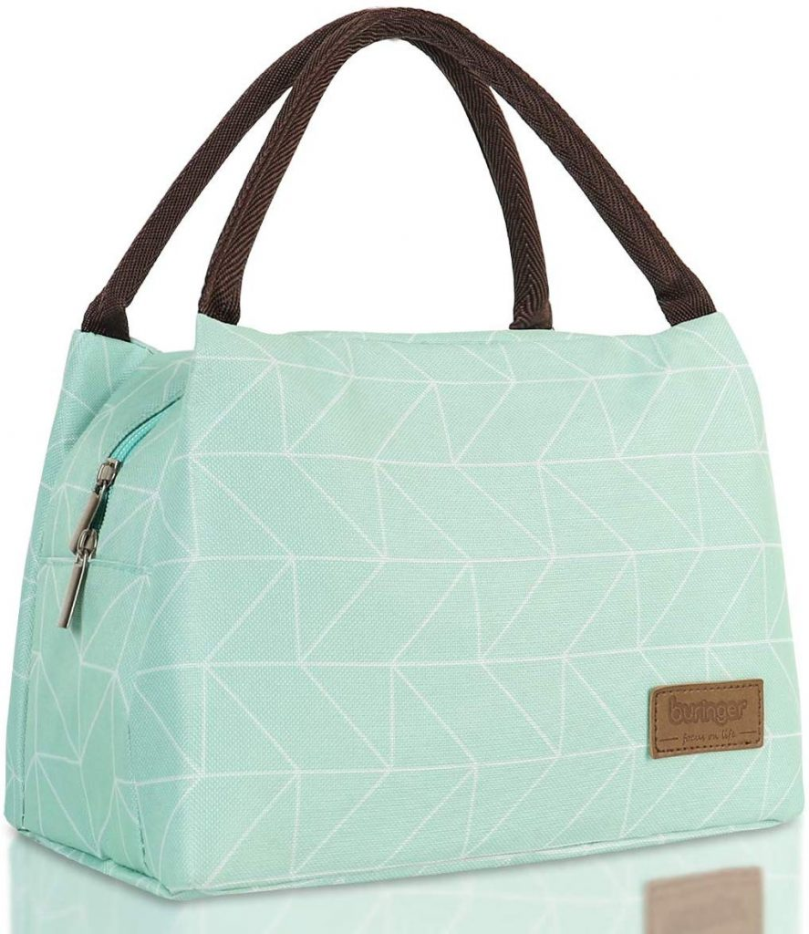Light green Insulated Lunch Bag Cooler with handles