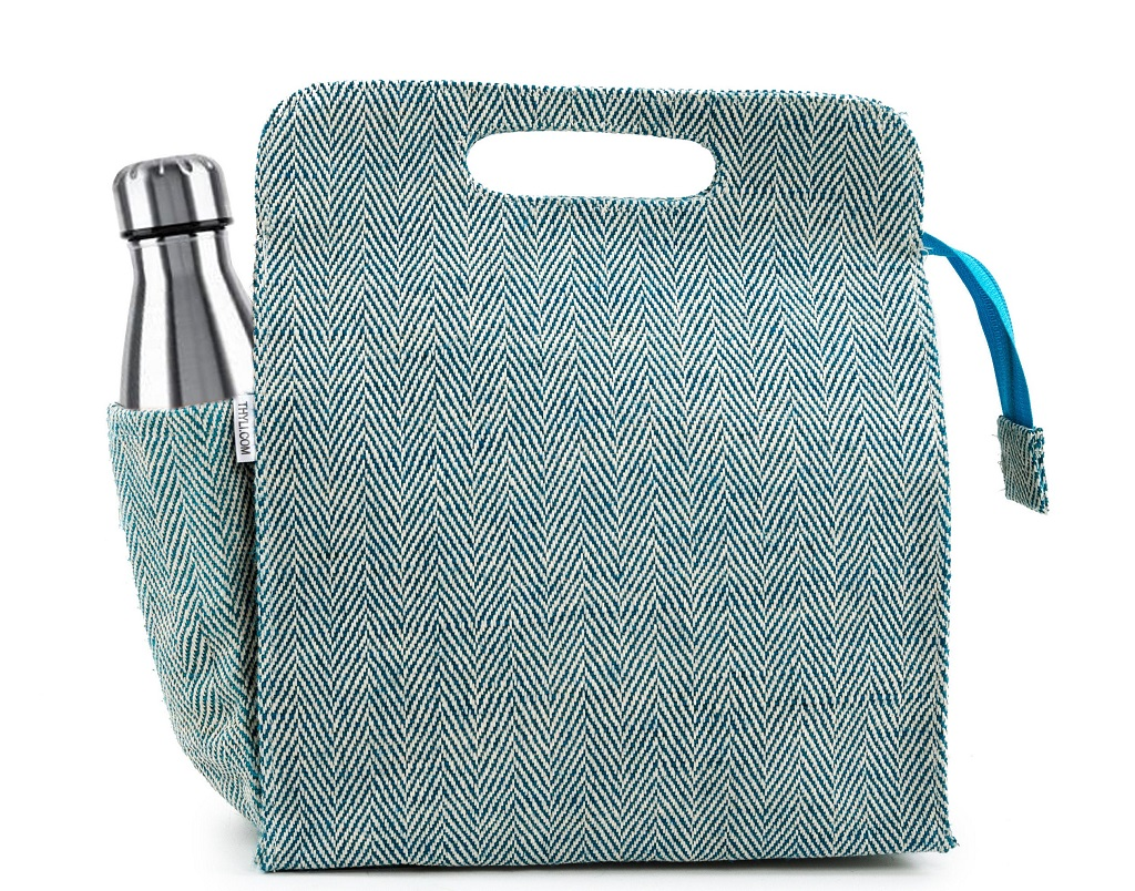 Blue and White eco-friendly lunch bag made from Jute Materials