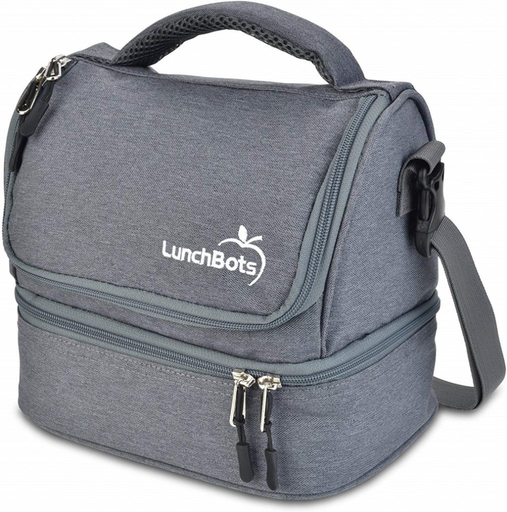 Lunch Bots Duplex Lunch Bag in Grey with carry strap and handle