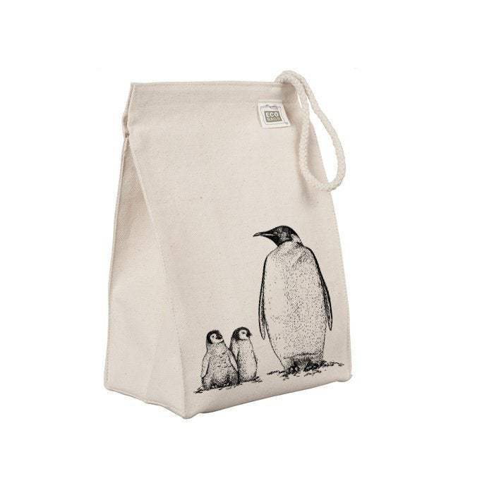 Reusable cotton lunch sack with a family of penquins on it