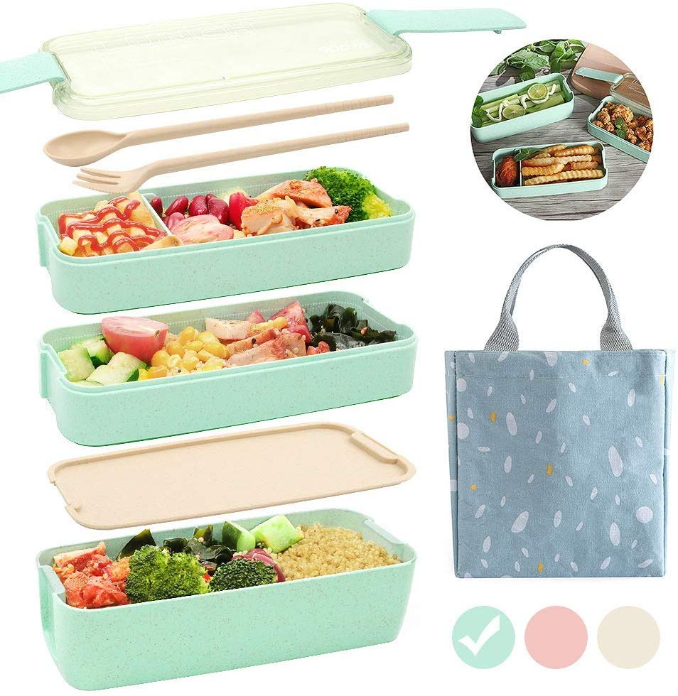Ozazuco Japanese Lunch Box (3 stackable layers) with carry tote