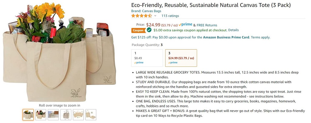 The detail listing page for a 3-Pack of canvas tote bags on Amazon