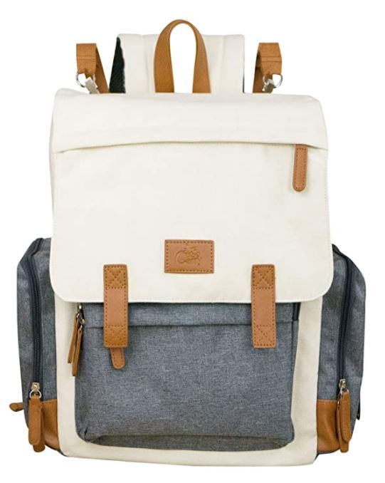 Cream and grey diaper backpack bag by Cutie Carry