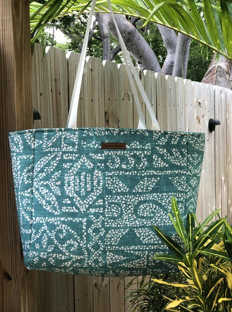 Teal insulated market tote