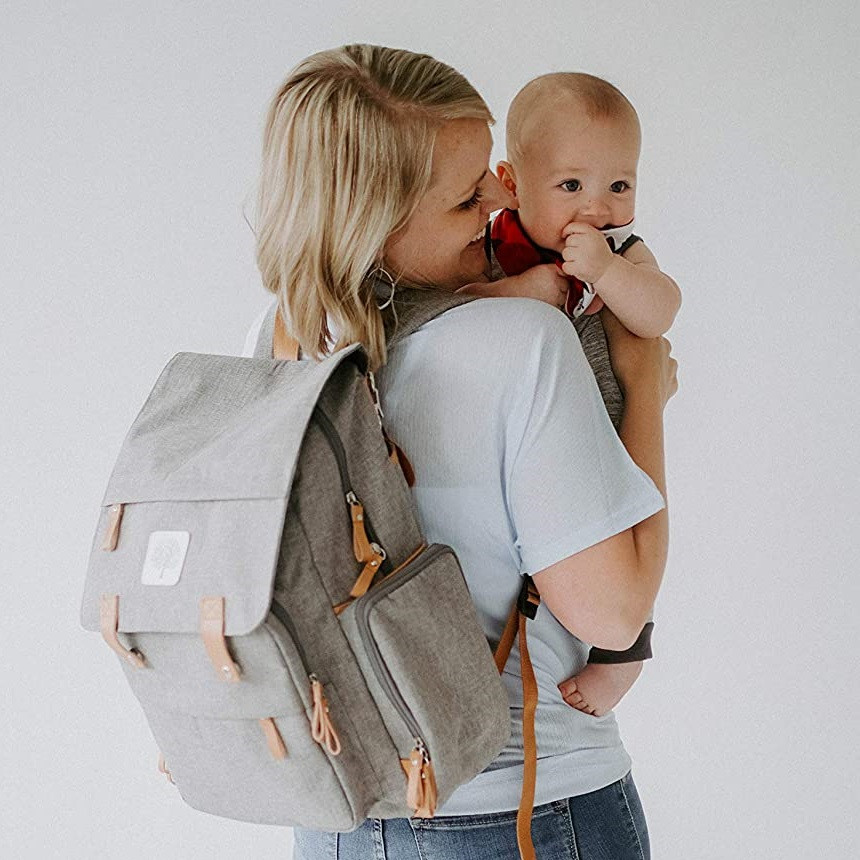 baby and mom wearing the Parker Baby Diaper Backpack
