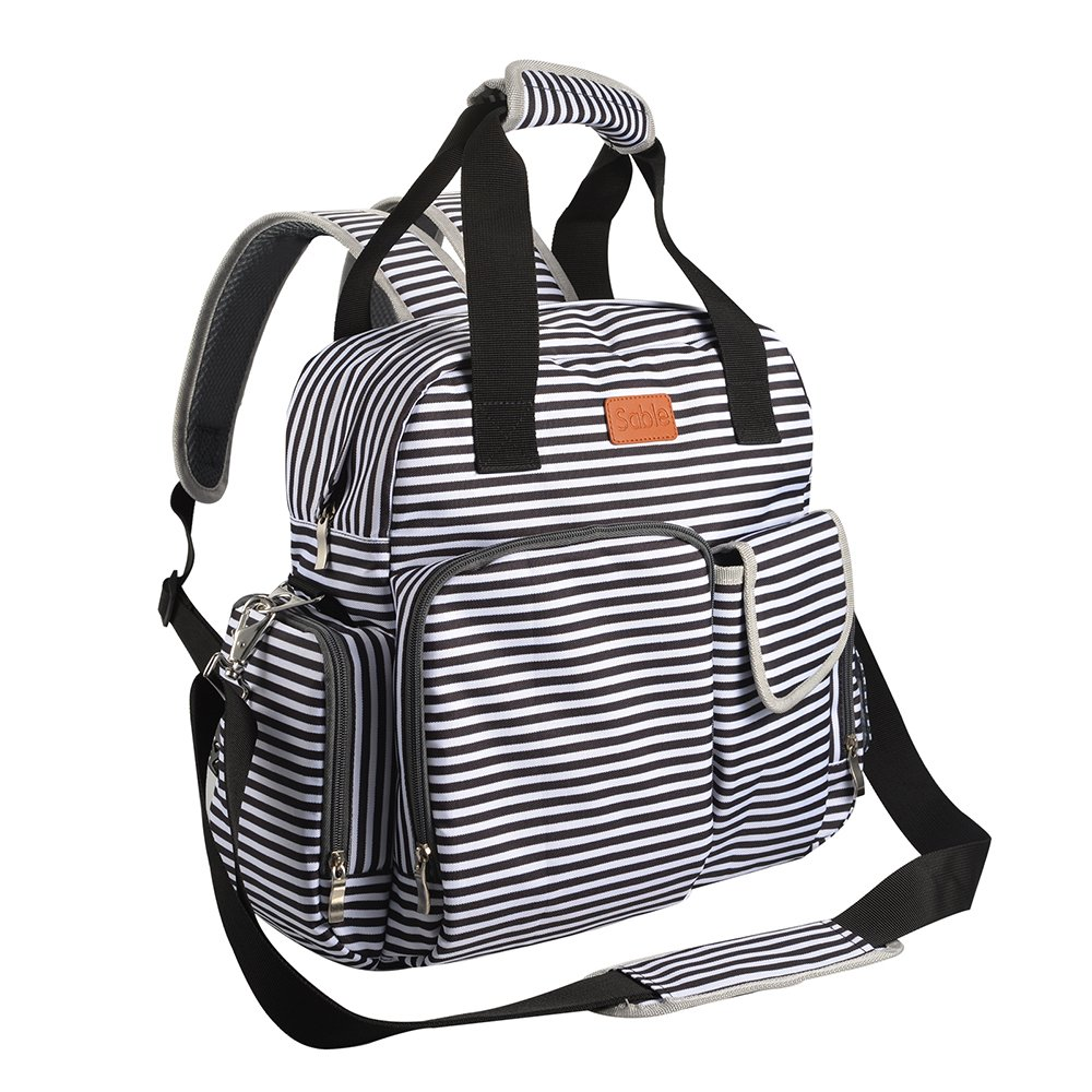 Black and white striped Multi-function Diaper Tote Bag and Backpack by Sable