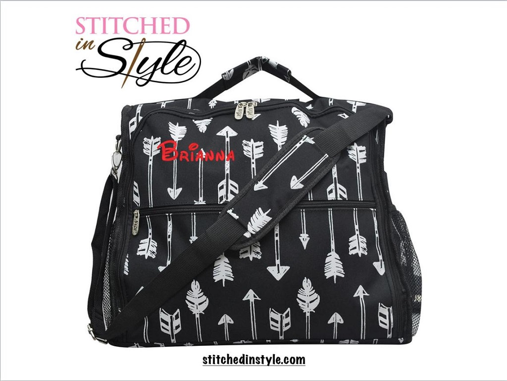 Black patterned personalized diaper bag from Etsy seller stitched in style